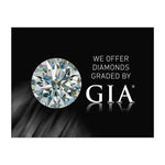 "Graphic with text ""We Offer Diamonds Graded By GIA"", diamond, GIA logo, and black background"