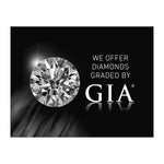 "Graphic with text ""We Offer Diamonds Graded By GIA"", grayscale diamond photo, GIA logo, and black background"