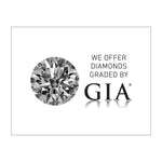 "Graphic with text ""We Offer Diamonds Graded By GIA"", grayscale diamond photo, GIA logo, and white background"
