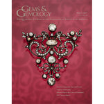 Cover of Gems & Gemology Spring 2017 issue, featuring intricate art object with white gems