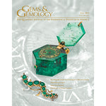 Cover of Gems & Gemology Fall 2013 issue, featuring container with hinge made of green gem