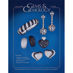Cover of Gems & Gemology Fall 2003 issue, featuring objects encrusted with black and white jewels