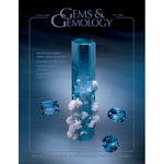 Cover of Gems & Gemology Fall 2008 issue, featuring cylindrical gem with mineral growths