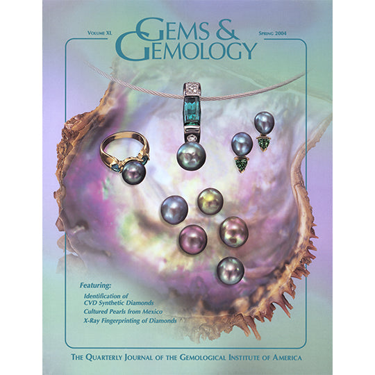 Cover of Gems & Gemology Spring 2004 issue, featuring black and colored pearls