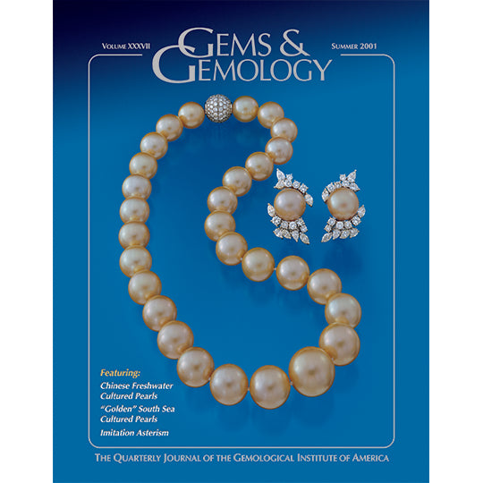Cover of Gems & Gemology Summer 2001 issue, featuring pearl choker and earrings