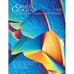 Cover of Gems & Gemology Summer 2015 issue, featuring brightly colored photomicrograph