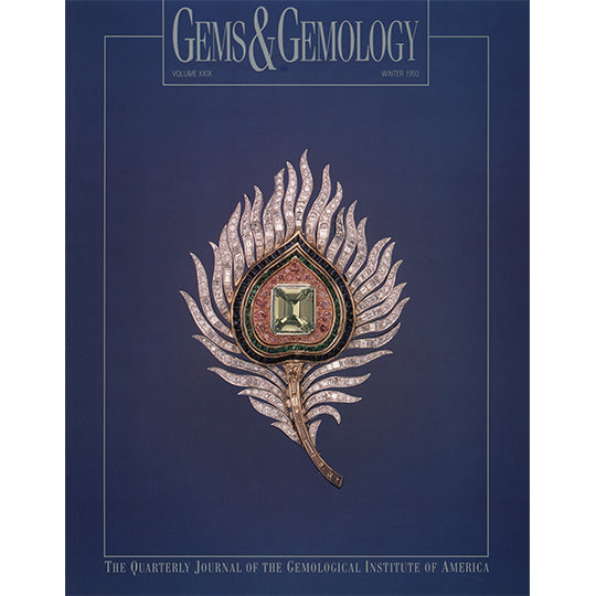 Cover of Gems & Gemology Winter 1993 issue, featuring metal leaf art object with gemstone