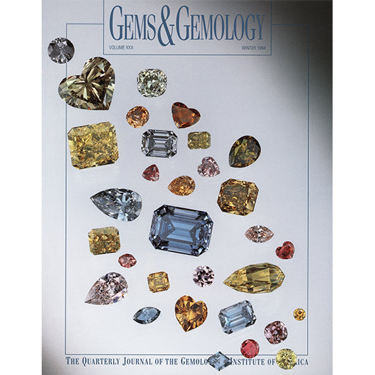Cover of Gems & Gemology Winter 1994 issue, featuring arrangement of  translucent colored gems