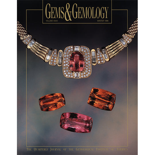 Cover of Gems & Gemology Winter 1996 issue, featuring richly colored gems and necklace