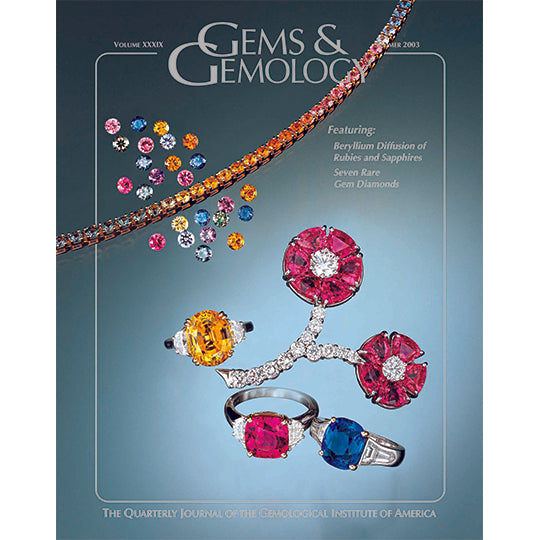 Cover of Gems & Gemology Summer 2003 issue, featuring brightly colored gems and jewelry