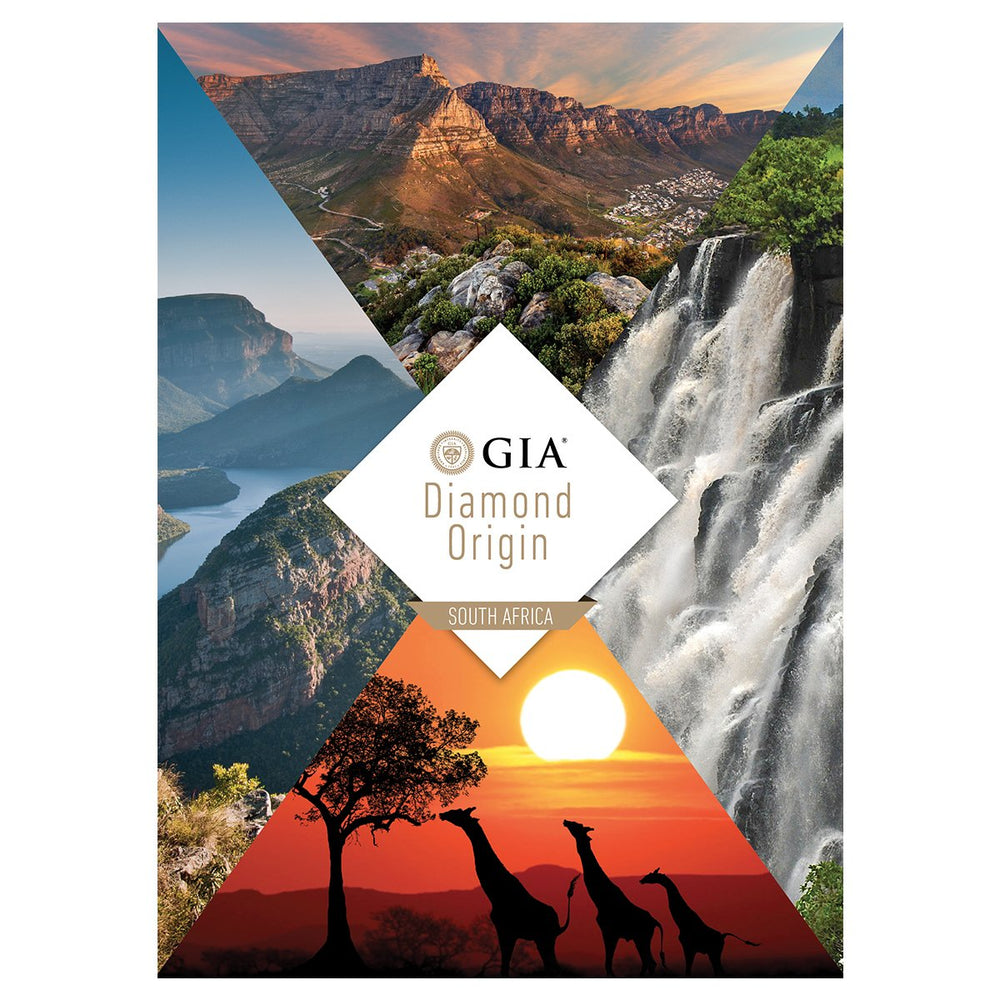 Diamond Origin South Africa brochure, featuring beautiful South African landscapes and giraffes