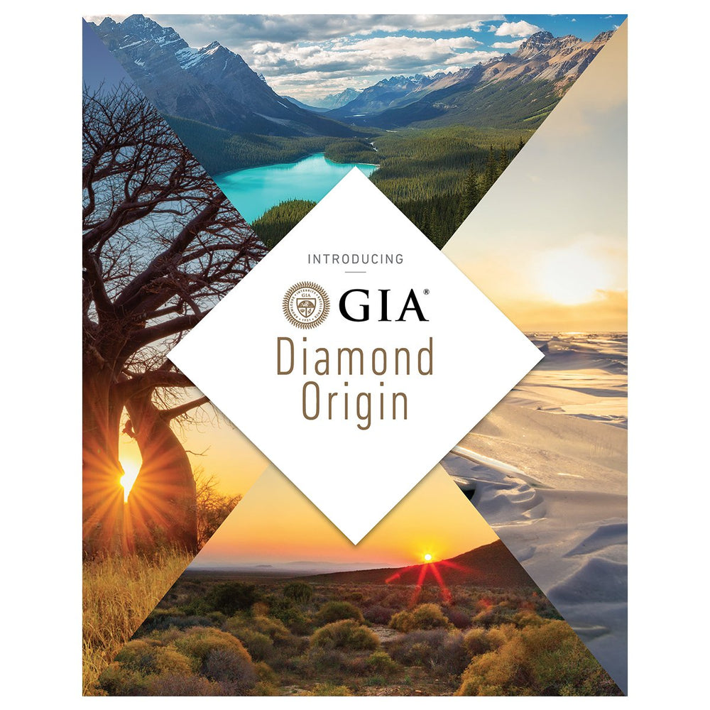 "Diamond Origin Retailer Brochure front, featuring heading ""Introducing GIA Diamond Origin"" and beautiful landscapes"