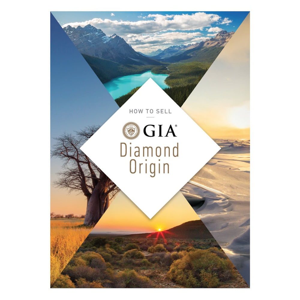 "Diamond Origin Pocket Selling Guide front, featuring heading ""How To Sell GIA Diamond Origin"" and beautiful landscapes"