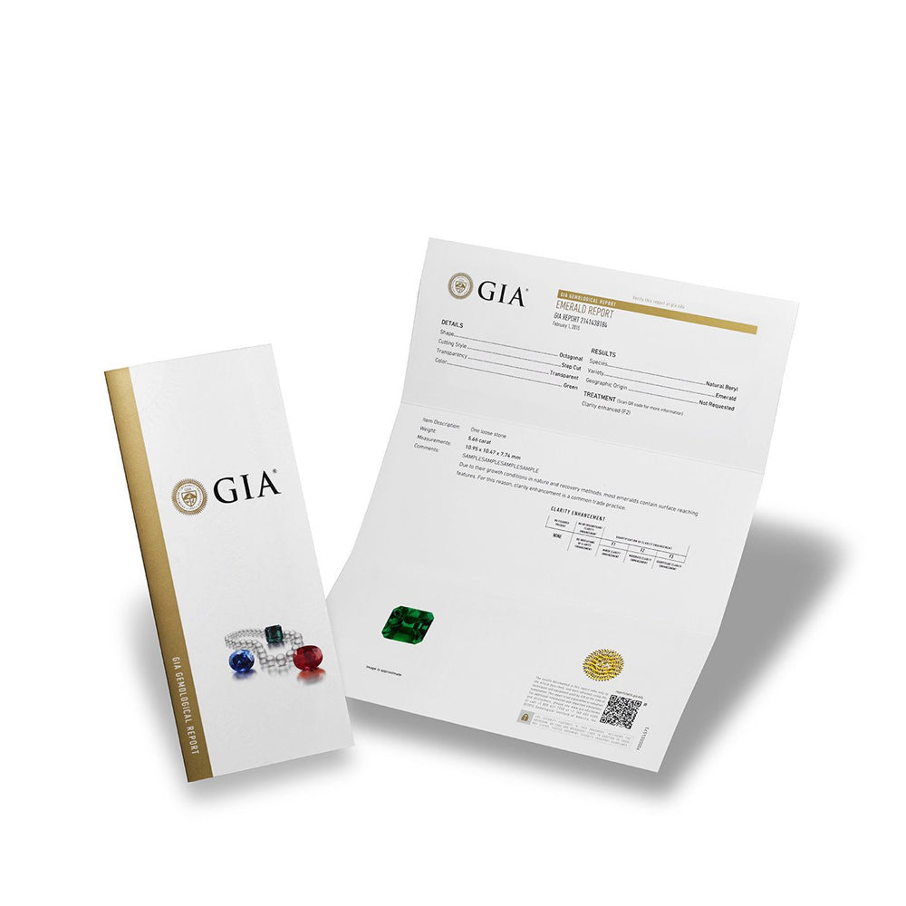 GIA Gemological Report cover, featuring full page emerald report