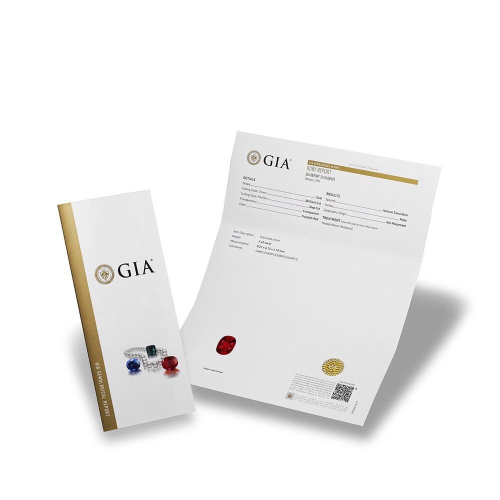 GIA Gemological report cover, next to full page ruby report