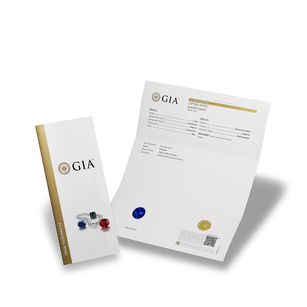 GIA Gemological Report cover, next to full page sapphire report