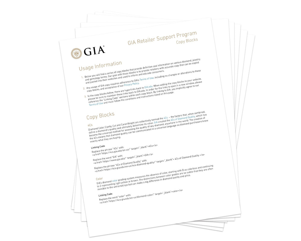 "Stack of papers, with paper on top titled ""GIA Retailer Support Program Copy Blocks"""