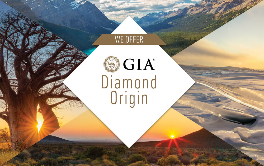 "Rectangular graphic with title ""We Offer GIA Diamond Origin"" against beautiful landscape photographs"