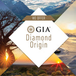 "Square graphic with title ""We Offer GIA Diamond Origin"" against beautiful landscape photographs"