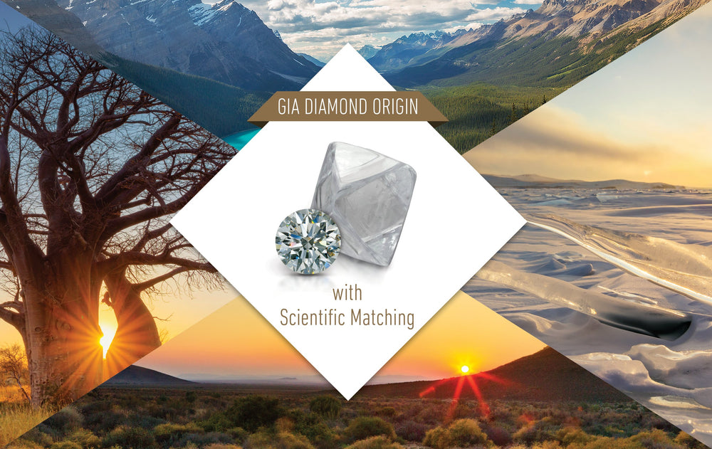 "Rectangular graphic with title ""GIA Diamond Origin with Scientific Matching"", diamond, and beautiful landscapes"