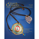 Cover of Gems & Gemology Spring 2016 issue, featuring glass-like jewelry on twine