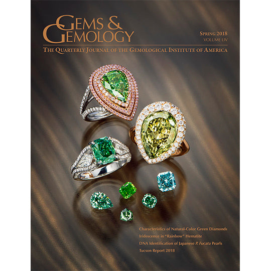 Cover of Gems & Gemology Spring 2018 issue, featuring green gems and rings holding large green gems
