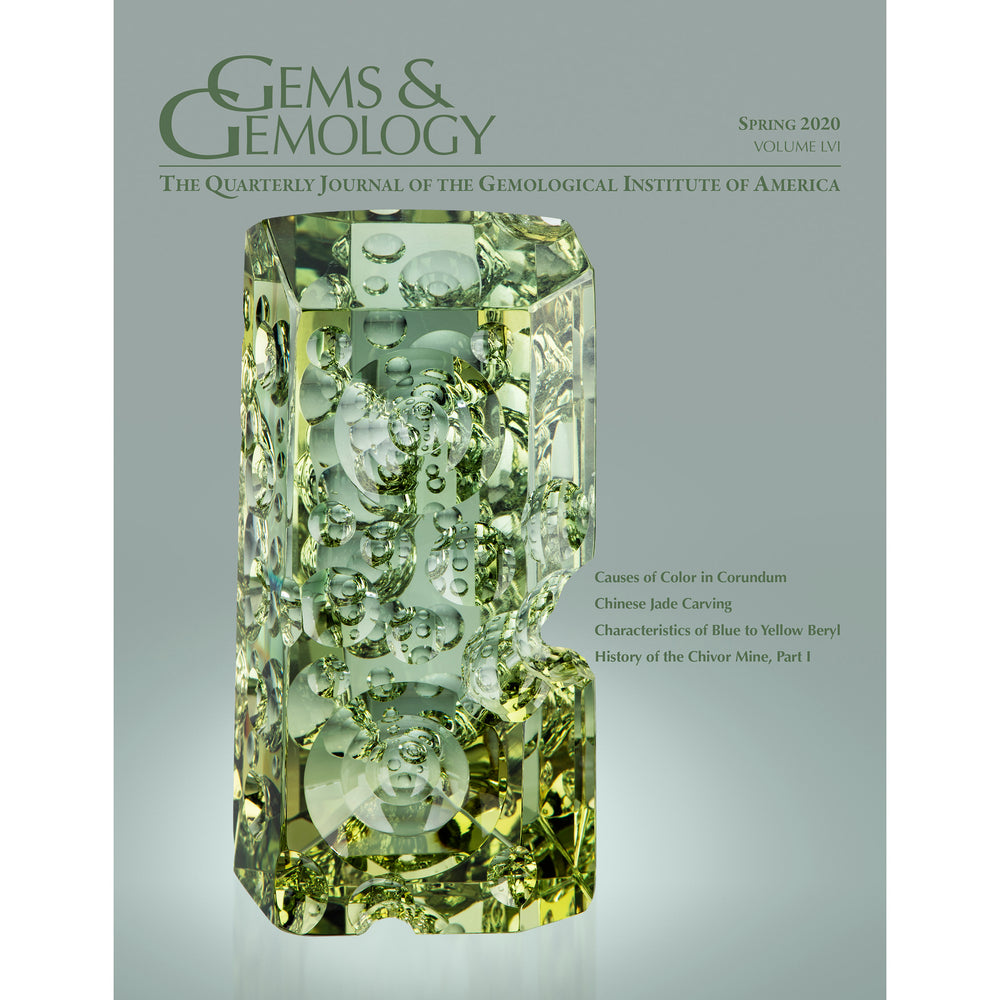 Cover of Gems & Gemology Spring 2020 issue, featuring a 3,070 ct fantasy cut heliodor.