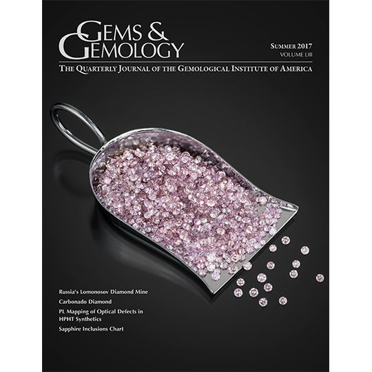 Cover of Gems & Gemology Summer 2017 issue, featuring scoop full of pale pink gems