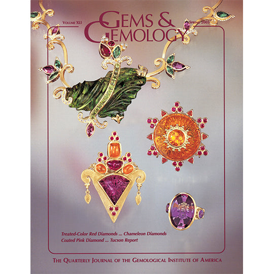 Cover of Gems & Gemology Spring 2005 issue, featuring intricate art objects made from gold and jewels