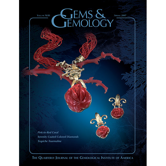 Cover of Spring 2007 Gems & Gemology issue, featuring red gemstones carved with braided textures