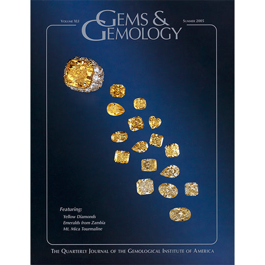 Cover of Gems & Gemology Summer 2005 issue, featuring pale yellow gemstones carved in different shapes