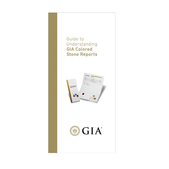 "Brochure front with heading ""Guide to Understanding GIA Colored Stone Reports"", image of report, and logo"