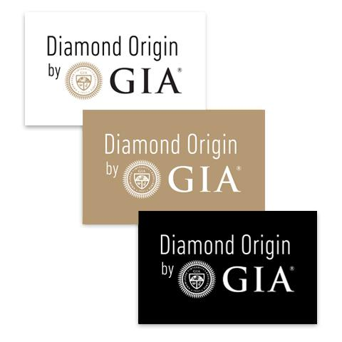 "Group of white, tan, and black rectangular graphics, all with text ""Diamond Origin by GIA"""