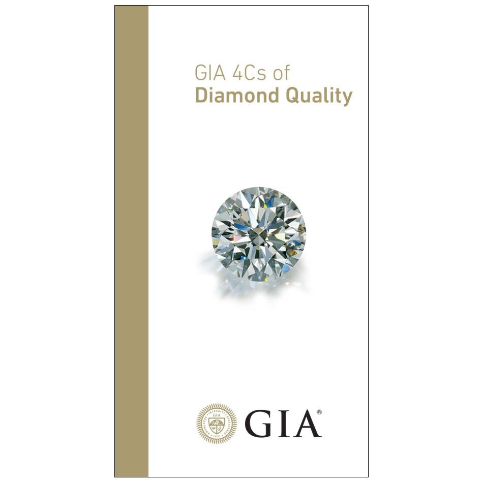"Brochure front with title ""GIA 4Cs of Diamond Quality"" , diamond, and GIA logo"