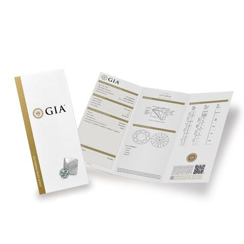 GIA diamond report brochure cover featuring rough and polished diamond, next to opened brochure