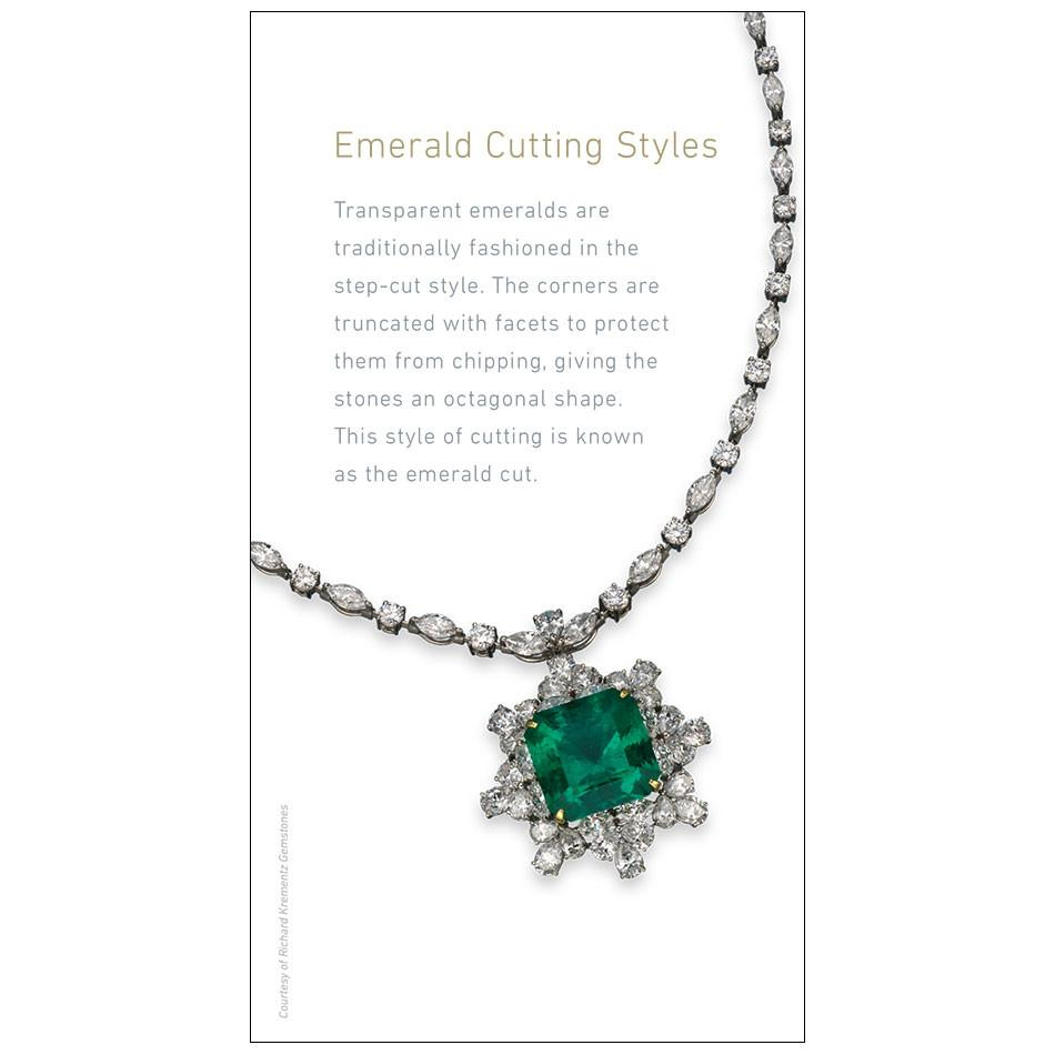 "Emerald brochure panel, featuring text with heading ""Emerald Cutting Styles"" and emerald necklace"