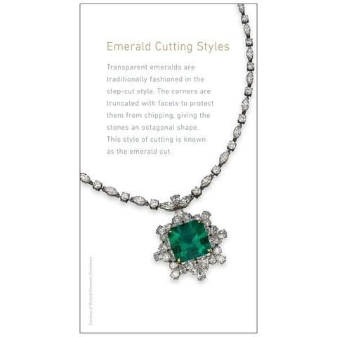 "Emerald brochure panel ""Emerald Cutting Styles"", with image of emerald necklace"