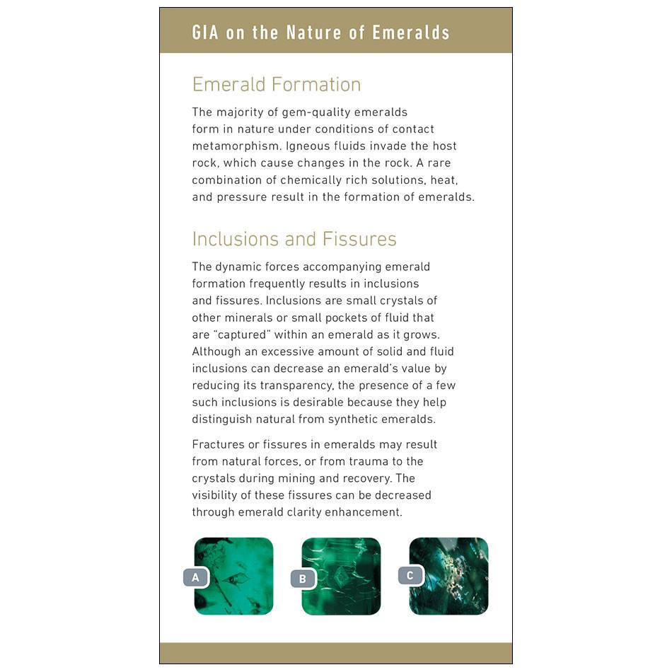 "Emerald brochure panel, featuring headings ""Emerald Formation"" and ""Inclusions and Fissures"""