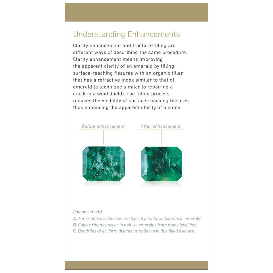 "Emerald brochure panel, featuring heading ""Understanding Enhancements"" and before/after photos of enhancement"