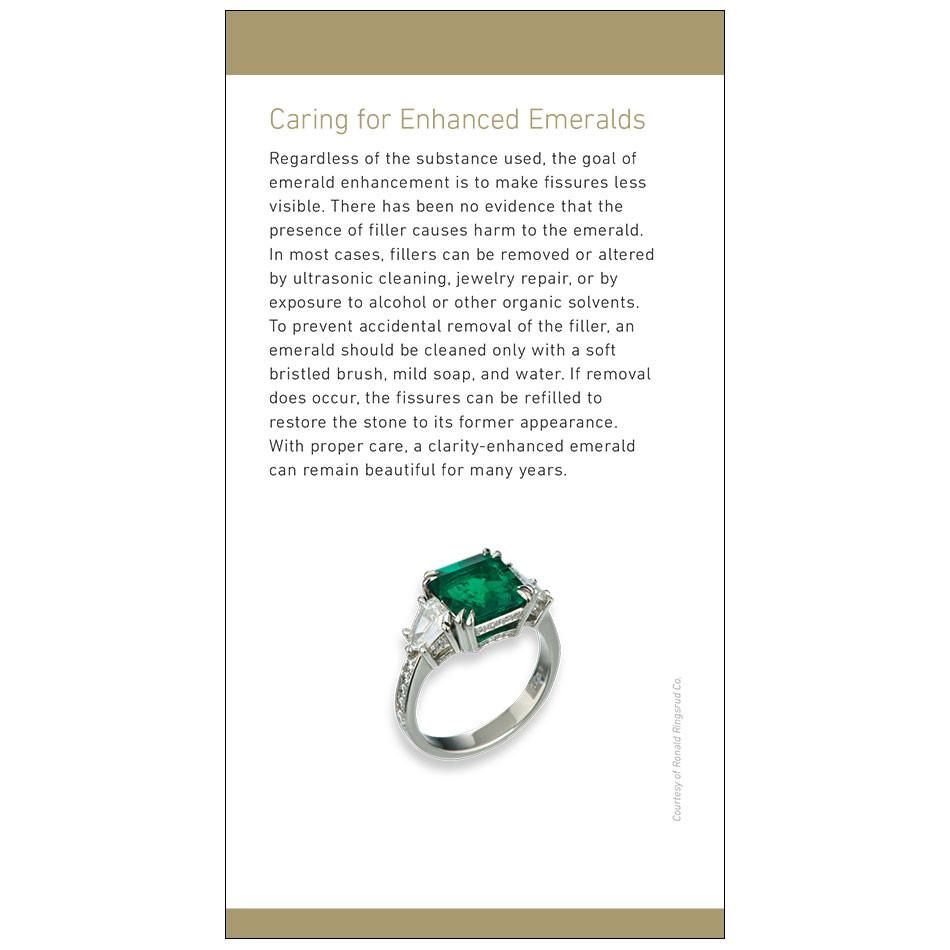 "Emerald brochure panel, featuring heading ""Caring for Enhanced Emeralds"", text, and ring"