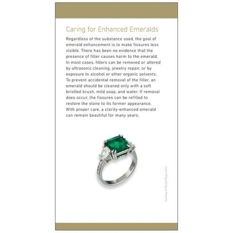 "Brochure panel ""Caring for Enhanced Emeralds"" with image of ring"