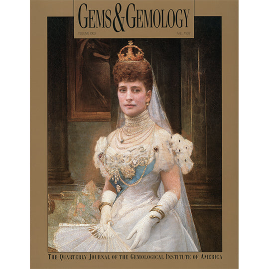 Cover of Gems & Gemology Fall 1993 issue, featuring  painting of royal woman wearing stacked pearl necklaces