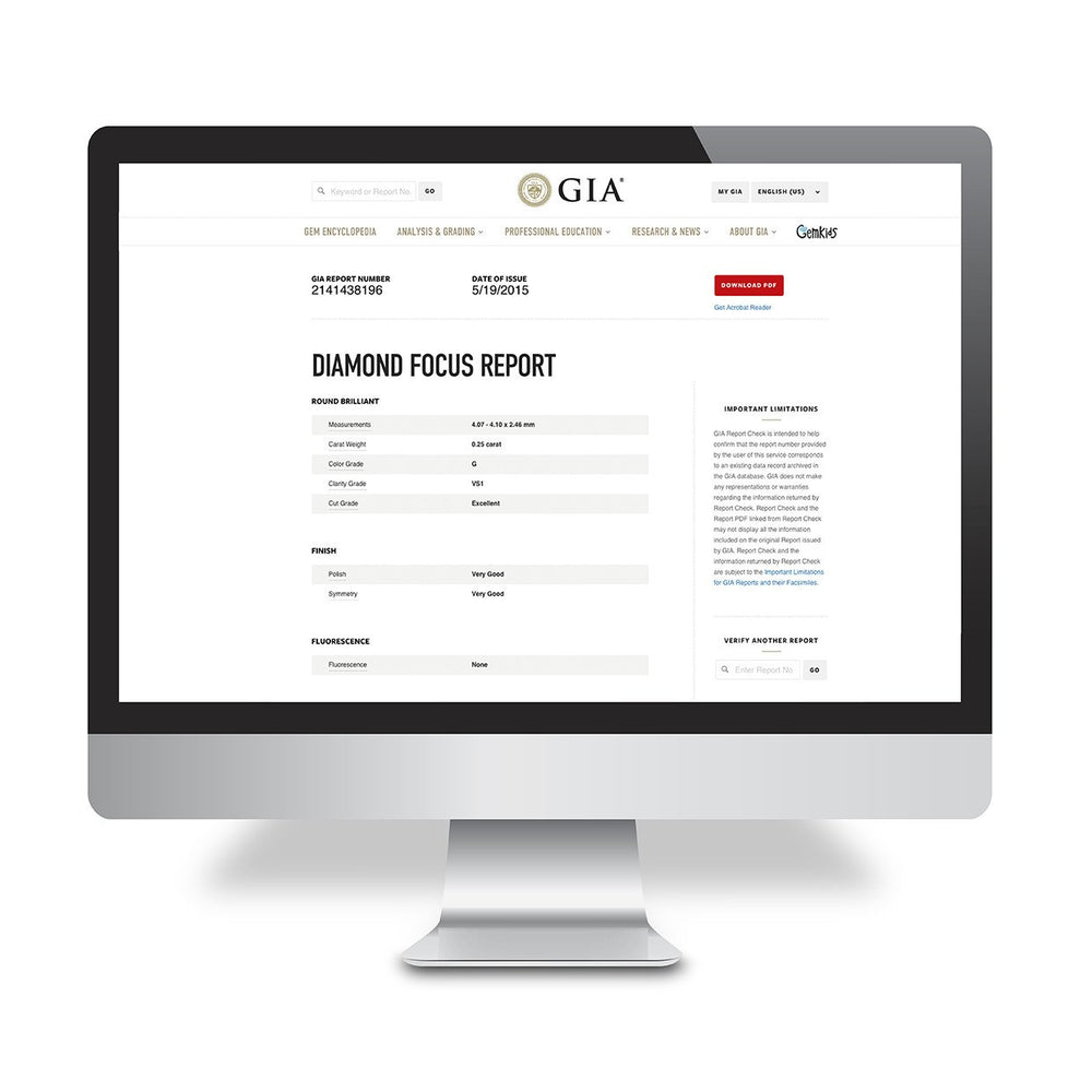 Mac desktop open to Diamond Focus Report  on GIA site, showing results of Diamond Focus Report