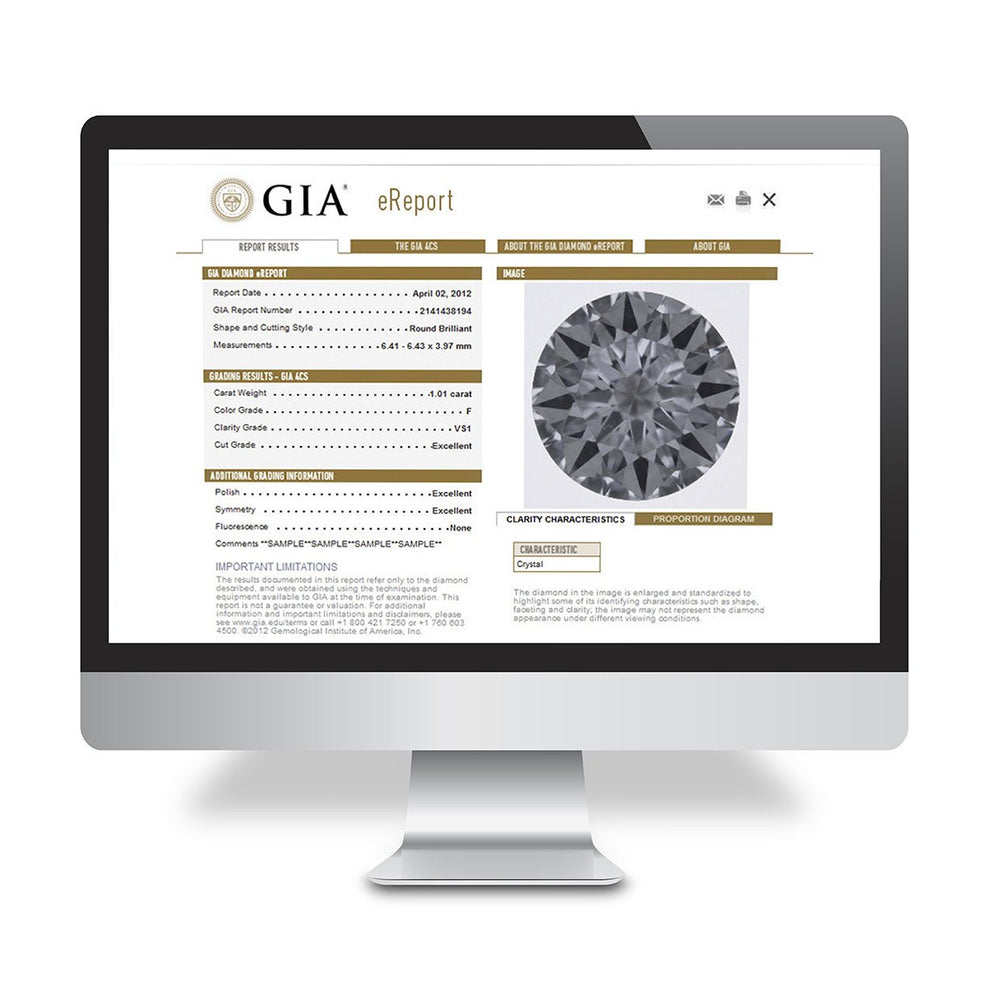 Mac desktop open to GIA eReport, showing diamond grading results