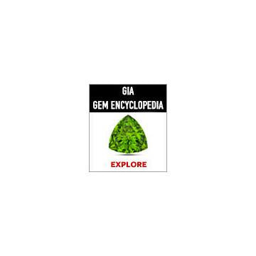 Large square GIA Gem Encyclopedia web button with black background behind heading and lime green gem
