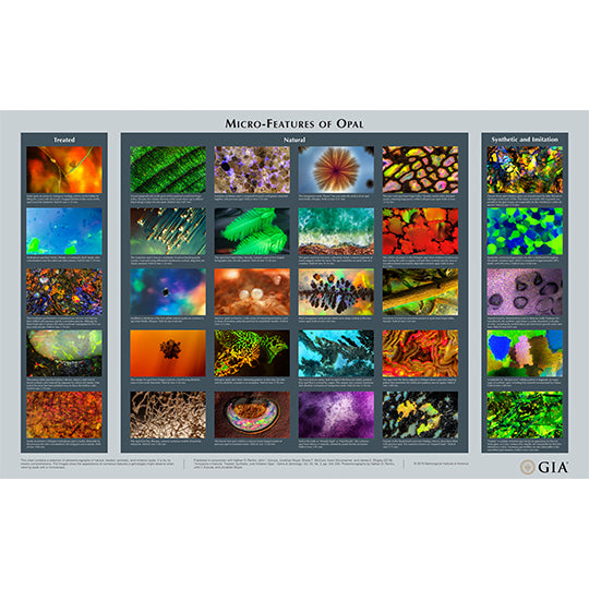 Micro-Features of Opal wall chart, featuring rows of opal microphotgraphs with captions