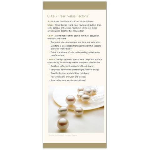 "Brochure panel ""GIA's 7 Pearl Value Factors"" with image of multicolored pearls on clam shell"