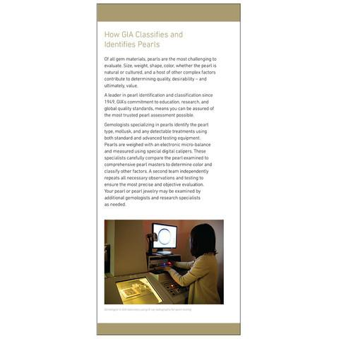 "Brochure panel ""How GIA Classifies and Identifies Pearls"" with researcher examining pearl on computer screen"