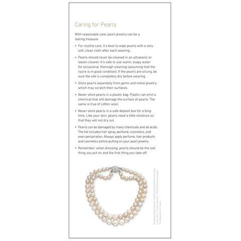 "Brochure panel ""Caring for Pearls"" with image of pearl necklace"