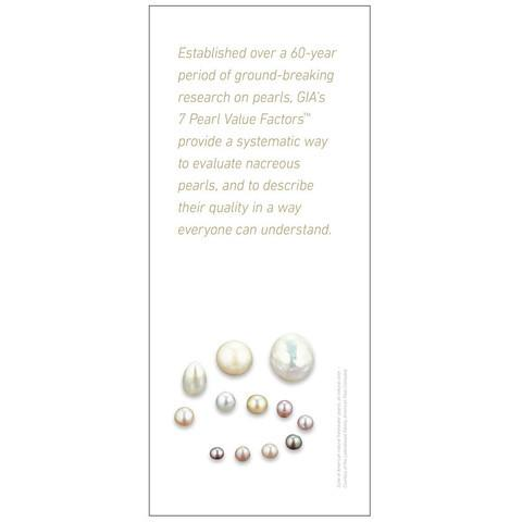 Brochure panel with introductory text and different colored pearls